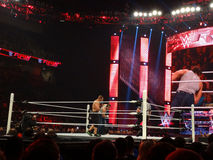 John Cena takes punch from the lunatic fringe Dean Ambrose in w Royalty Free Stock Image