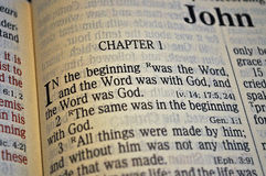 "John Chapter One. First verse in the Book of John, ""In the beginning was the Word, and the Word was with God, and the Word was God Royalty Free Stock Photos"
