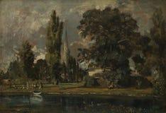 John Constable - Salisbury domkyrka och Leadenhall från floden Avon royaltyfri bild