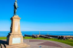 John Cook Memorial in Whitby, England. Whitby, North Yorkshire, UK - October 12, 2014: John Cook Memorial in Whitby, England.Whitby is a seaside town and port in Stock Photo