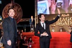 John Cusack y Adrien Brody en Dragon Blade Premiere Imagen de archivo libre de regalías