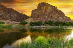 John Day River at Sunrise in Oregon Stock Photo