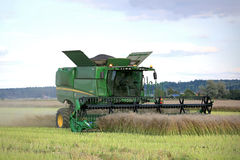 John Deere Combine on Rapeseed Field Royalty Free Stock Images