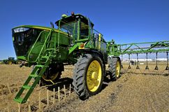 John Deere demonstration of a new crop sprayer Stock Photo
