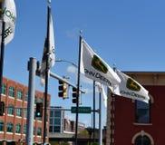 John Deere flagi w Moline, IL obraz royalty free