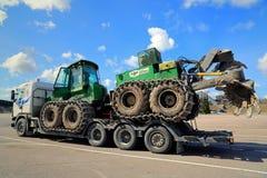 John Deere Forestry Harvester com disco dobro Forest Plough fotos de stock royalty free