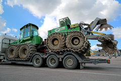 John Deere Forestry Harvester with Double Disk Forest Plough Stock Photos