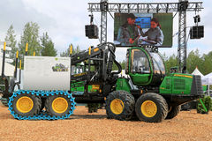 John Deere Harvester 1110E at FinnMETKO 2014 Stock Images