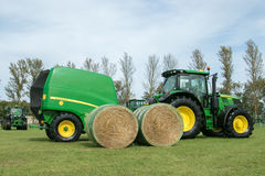 John deere tractor and  baler Stock Images