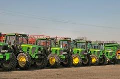 John Deere Tractors. Lineup of John Drrer tractors at a locak dealer Stock Photo