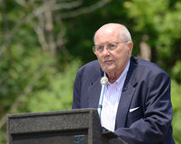 John Dingell at Memorial Day observance. ANN ARBOR, MI - MAY 27: Congressman John Dingell of Michigan speaks at the annual Memorial Day observance on May 27 stock photos