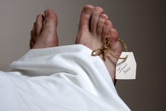 John Doe. A John Doe name tag on the foot of a body Stock Image