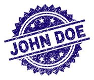 Grunge Textured JOHN DOE Stamp Seal. JOHN DOE stamp seal watermark with distress style. Blue vector rubber print of JOHN DOE title with unclean texture vector illustration