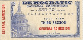 John F Kennedy 1960 Convention Ticket. Original ticket to the 1960 Democratic National Convention held in Los Angeles California. The convention nominated John F Royalty Free Stock Images