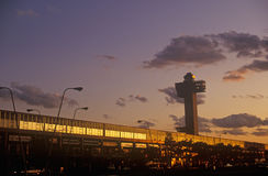 John F. Kennedy Airport at sunset, New York City, NY Royalty Free Stock Photo