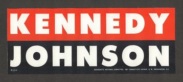 John F. Kennedy Campaign Memorabilia. Official and authentic bumper sticker from the 1960 presidential campaign of John F. Kennedy Royalty Free Stock Photos