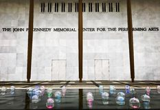 The John F Kennedy memorial center for the performing arts. The water arts at JFK memorial in Washington stock photography