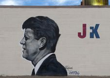 John F. Kennedy mural by Theo Ponchaveli and Josh Mittag, Dallas, Texas. Pictured is a wall mural in Dallas of John F. Kennedy. It was painted by self taught royalty free stock photography
