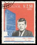 John F. Kennedy op een zegel royalty-vrije stock fotografie