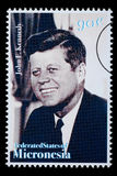 John F. Kennedy Postage Stamp. FEDERATED STATES MICRONESIA - CIRCA 1990: A postage stamp printed in FSM showing John F. Kennedy, circa 1990 Stock Photography