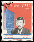 John F. Kennedy on a stamp. From Ecuador from year 1966 royalty free stock photography