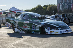 John force mustang. Sanair september 6-7, 2014 picture of john force funny car ford mustang in exhibition during festidrag event Royalty Free Stock Images
