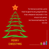 John för vers för helig bibel för jul 3:16 Royaltyfri Bild