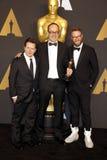 John Gilbert, Seth Rogen und Michael J fuchs Lizenzfreie Stockfotos