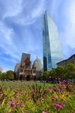 Εκκλησία τριάδας της Βοστώνης και πύργος του John Hancock, ΗΠΑ Στοκ εικόνα με δικαίωμα ελεύθερης χρήσης