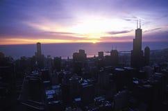 John Hancock Building towers above Chicago Skyline at Sunrise, Chicago, Illinois Royalty Free Stock Images