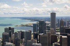 John Hancock Center. Aerial view of lake michigan and chicago on a sunny day from John Hancock Center Stock Photography