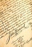 John Hancock on declaration. John Hancock signature on United States Declaration of Independence, closeup Stock Photos