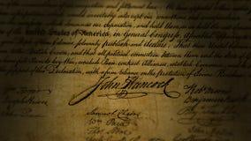 John Hancock, dichiarazione di indipendenza archivi video