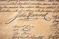 John Hancock Signature Handwriting. The signature of John Hancock on the US Declaration of Independence Royalty Free Stock Image