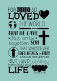John 3 16 Hand Lettering Bible Verse. Golden Bible verse John 3 16 For God so loved the world, made hand lettering with heart and cross. Biblical background Royalty Free Stock Photos