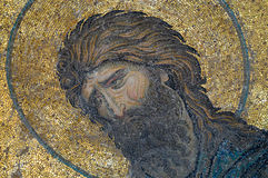 John het Doopsgezinde beeld op oud mozaïek Royalty-vrije Stock Afbeelding