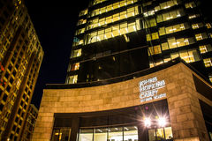 John Hopkins Carey Business School at night in Harbor East, Balt Royalty Free Stock Photos