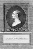 John Howard. (1726-1790) on engraving from the 1700s. Philanthropist and first English prison reformer. Engraved by T.Prattent and published in the European Royalty Free Stock Image