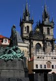 John Hus and the Tynchurch in Prague stock images