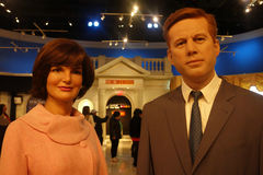 John and Jacqueline Kennedy. Wax figures of US President John F. Kennedy and his wife, Jacqueline, at Madame Tussauds in New York City stock photo