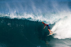 John John Florence Surfing in the Pipeline Masters Royalty Free Stock Photography