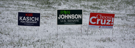 John Kasich, Ron Johnson, Ted Cruz Campaign Signs. John Kasich for President, Ron Johnson for U.S. Senate and Choose Ted Cruz for President campaign signs in a Royalty Free Stock Image