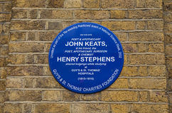 John Keats and Henry Stephens Blue Plaque in London Stock Photos