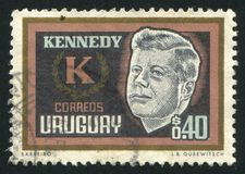 John Kennedy. URUGUAY - CIRCA 1965: stamp printed by Uruguay, shows John Kennedy, circa 1965 royalty free stock image