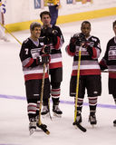 John Kerry, Cam Neely & John Saunders play in a charity hockey game. Stock Photography