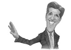 John Kerry-Karikaturskizze Stockbild
