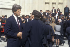 John Kerry at memorial service for Paul Tully Royalty Free Stock Photos