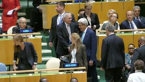 John Kerry at the United Nations General Assembly. General view of the conference room of 71st session of the United Nations General Assembly in New York stock footage