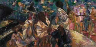 John Lee Hooker, olieverfschilderij, kunstenaar Roman Nogin, reeks` Geluiden van Jazz ` stock foto's