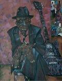 John Lee Hooker, pintura a óleo, artista Roman Nogin, sons do ` da série do jazz ` imagens de stock royalty free